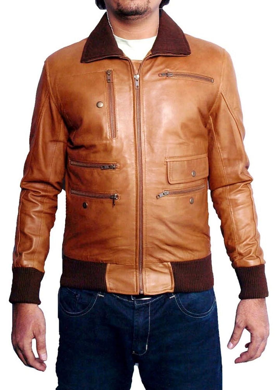 Men's Ricci Sheep Tan Brown Leather Jacket