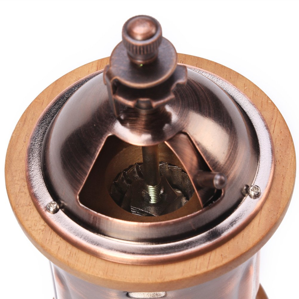 3E Home Manual Canister Stainless steel Burr Coffee Mill Grinder, Stainless Steel Top, and Antique Copper Body 2
