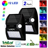 Solar Motion Sensor Lights RGB Wireless Waterproof Outdoor Security Light Dusk to Dawn LED Light for Patio, Deck, Yard, Garden with Motion Activated Auto On/Off 2 Pack (Color: 1stt, 2 Pack Rgbw Solar Light)