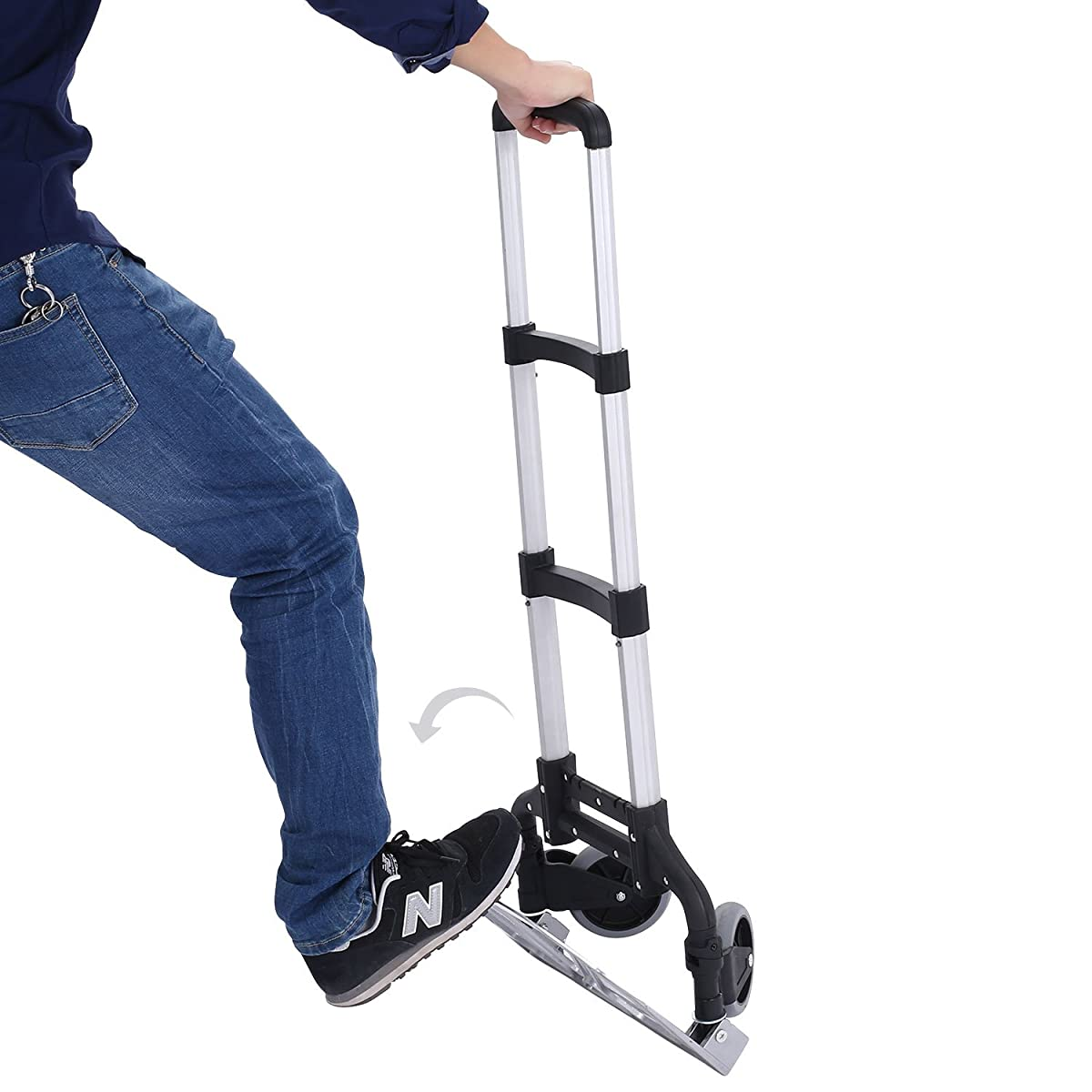 Meditool Cart Personal 150lb Capacity Trolley Folding Hand Truck Aluminum Lightweight Trolley with Collapsible and Detachable Box