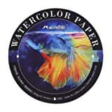 Mairtini Round Watercolor Pad, Cold Press Watercolor Paper, 7Inch Diameter, 140lb/300gsm, 20 Sheets Style A