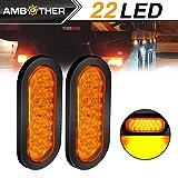 AMBOTHER 2pcs 6'' 22-LED Oval Amber Stop/Turn Signal/Brake/Marker/Tail LED Light, Flush Mount Grommet and Plug for Truck Trailer Trail Bus 12V Amber (Pack of 2)