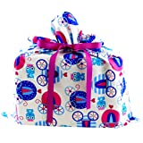 Princess Coaches Reusable Fabric Gift Bag For Birthday or Kid's Celebration (Medium 17 Inches by 18 Inches)