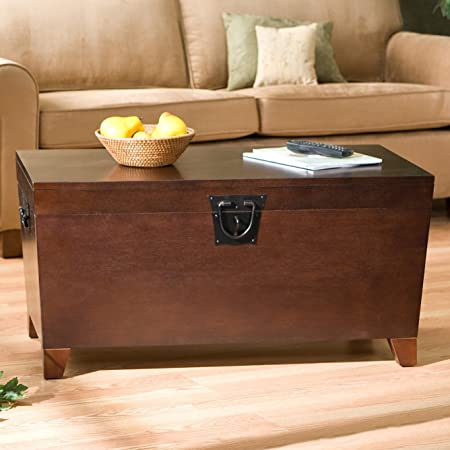 Danville Trunk Coffee Table with Lift-top Espresso Home Furniture Organizer Set Sleek and Functional Living Room Centerpiece in Contemporary Style and Usefulness,has Wooden Trunk Storage Unit That Helps You Organize Your Books,albums,family Artifacts