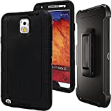 Note 3 Defender Case,Auker Shockproof Scratch Resistant Impact Built-in Screen Protector Military Grade Rugged Holster Full Body Protective Heavy Duty Case with Clip for Samsung Galaxy Note 3 (Black) (Color: Black)