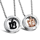 Fate Love Stunning 2pcs His & Hers Couples Gift Crown Pendant Love Necklace Set for Lover Valentine (Color: Gold)
