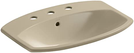 "KOHLER K-2351-8-33 Cimarron Self-Rimming Bathroom Sink with 8"" Centers, Mexican Sand"