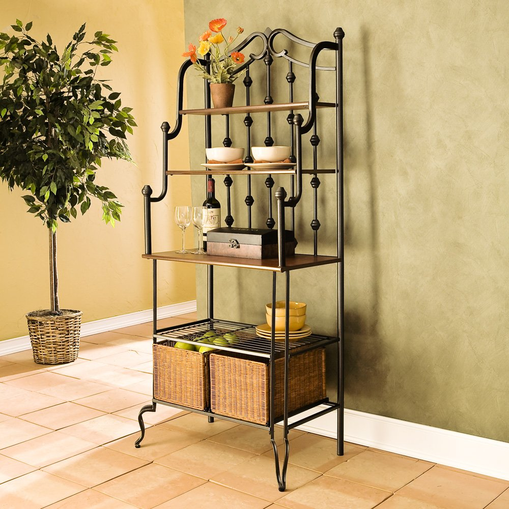 Bon ... Black Iron Bakers Rack With Wicker Storage Baskets