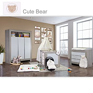 Babyzimmer Felix in akaziengrau 10 tlg. mit 3 turigem Kl. in Cute Bear Beige