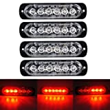 XT AUTO 6LED Car Truck Emergency Beacon Warning Hazard Flash Strobe Light Red/Red 4-pack (Color: Red Red)