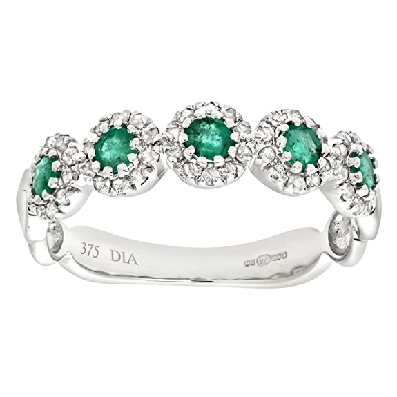Naava 9ct White Gold Diamond and Emerald Eternity Ladies Ring