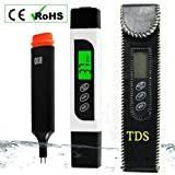TDS EC Temperature Meter Digital Water Tester with Backlit LCD, Accurate Professional Testing Ideal for Drinking Water, Hydroponics, Swimming Pools, Aquariums, 0-9990 ppm, ± 2% Accuracy