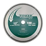 TOMAX 12-Inch 100 Tooth ATB Fine Finish Saw Blade with 1-Inch Arbor (Color: Silver, Tamaño: 12'' 100T)