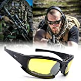 OVERMAL 4 Lens Kit Army Goggles Military Sunglasses Men's Outdoor Sports War Game Tactical Glasses (Color: black)