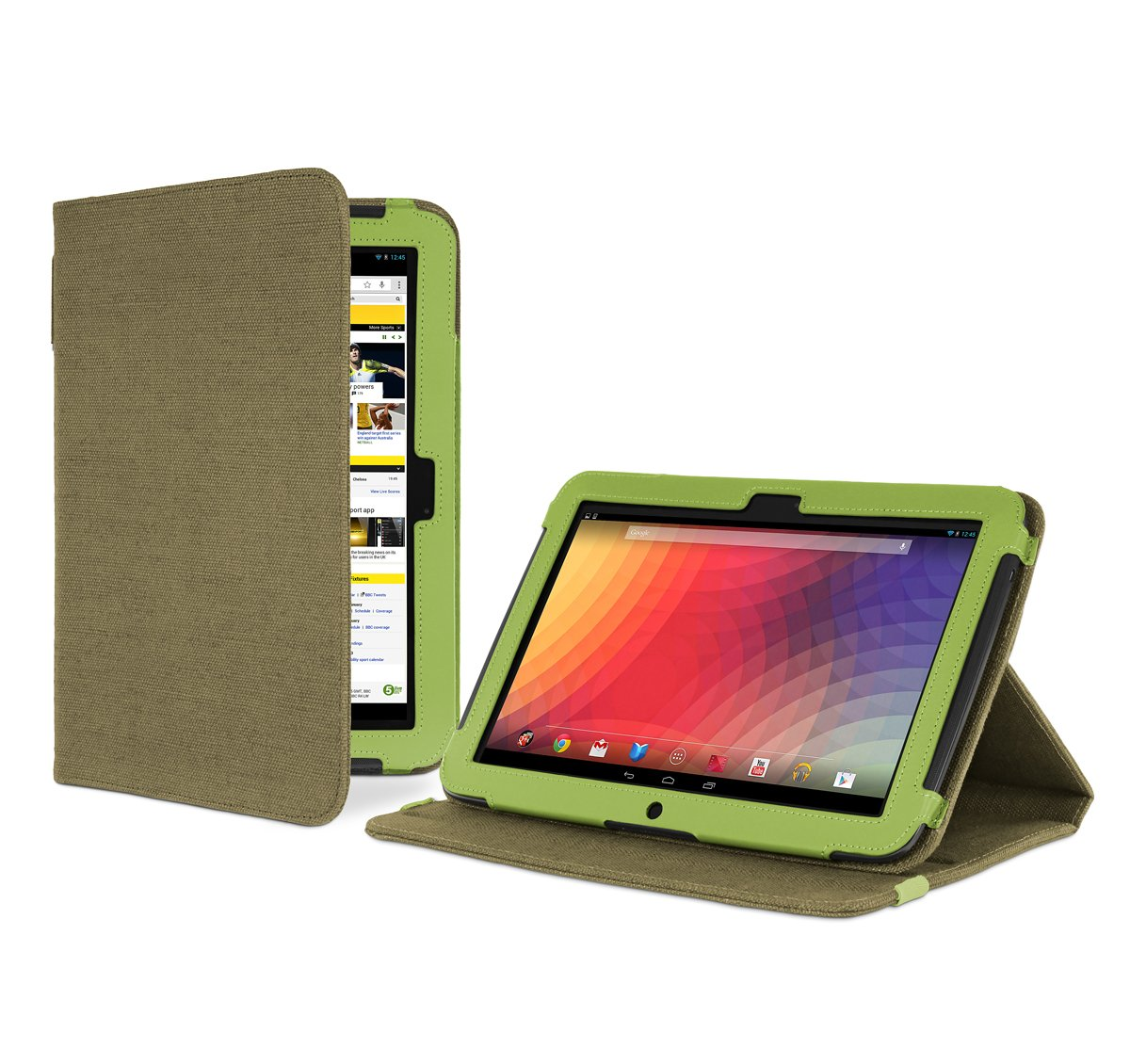 Cover-Up - Funda con función de atril para Google Nexus 10 (cáñamo, función de apagado y suspensión automática), color verde  Informática Comentarios y más información