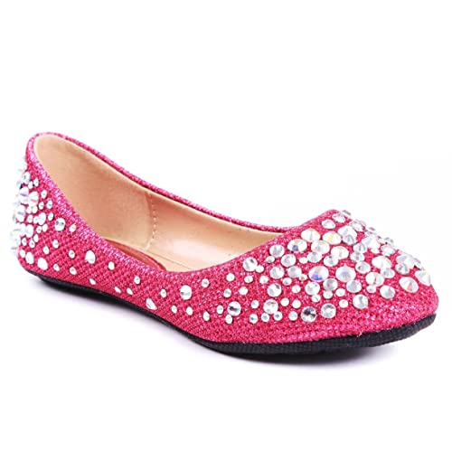 JJF Shoes LARISA Kids Loafer Slip Rhinestone Fashion Glitter Ballet Flats Shoes