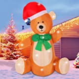 Fanshunlite Christmas Inflatable 4FT Bear Lighted Blow-Up Yard Party Decoration for Xmas Airblown Inflatable Outdoor Indoor Home Garden Family Prop Yard (Color: Bear2)