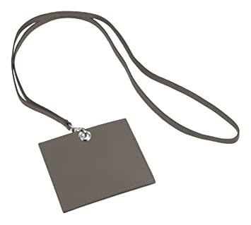 0 0lucrin porte badge badge horizontal avec sangle vachette lisse cuir gris gris fonc. Black Bedroom Furniture Sets. Home Design Ideas