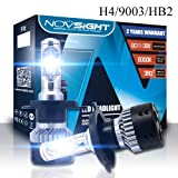H4/9003/HB2 Car Dual Beam Headlight Replacement Bulbs,NIGHTEYE Extremely Brigh 70W 10000LM 6500K Cool White Automotive LED Headlight Bulbs All-in-One Conversion Kit, Waterproof IP68 -2 Year Warranty