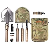 Folding Shovel and Camping Multitool - Survival Shovel with Heavy Duty Blade. Portable and Lightweight Military Grade Camp Shovel and Entrenching Tool for Hiking, Snow, Backpacking, and Car Safety. (Color: Gold)