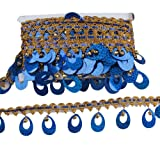 CENFRY 10yards 2inch Width Bell Sequins Lace Fringe Trim Tassel Sewing on Dress Clothing Curtain (Royal Blue) (Color: royal blue)