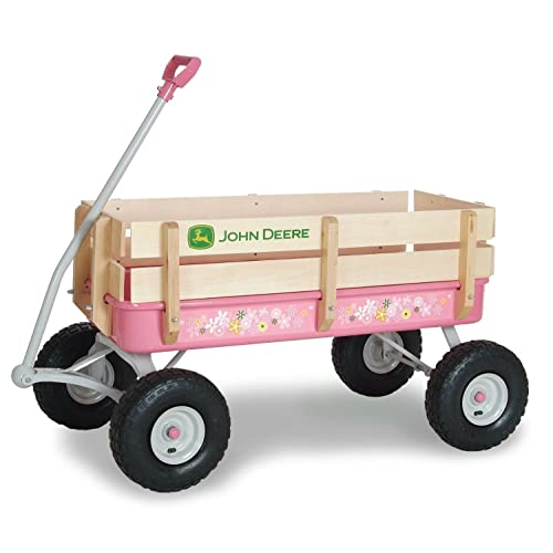 Ertl John Deere Pink Steel Easy Stable-Steer Stake Wagon Kids Ride On Vehicle