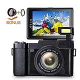 Digital Camera Camcorder Full HD 1080p Vlogging Camera 3.0 Inch Flip Screen 24.0 MP 52mm teleconverter lens camera 52mm close-up lens