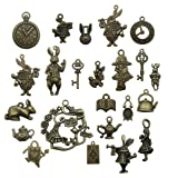 40pcs Antique Bronze Alice in Wonderland Fairy Tales Tea Party Steampunk Victorian Necklace Bracelet Charms (antique bronze) (Color: antique bronze)