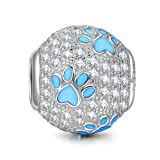 NINAQUEEN 925 Sterling Silver Necklace Jewelry Dog Puppy Paw Animal Bead fit for Pandöra Bracelets Pendant Necklace, Birthday Anniversary for Her Teen Girls Kids Daughter Sister (Color: Blue)