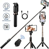 Humixx Selfie Stick, Bluetooth Selfie Stick Tripod with Wireless Remote Shutter Widely Compatible with iPhone 8 Plus/X/XR/XS Max, Samsung S10/S10 Plus, Huawei P30, Go Pro and More Action Cameras. (Color: Black)