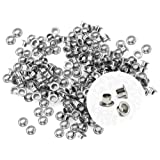 CRAFTMEmore 3MM Hole 200PCS Tiny Grommets Eyelets Self Backing for Bead Cores, Clothes, Leather, Canvas (Silver) (Color: Silver, Tamaño: 3 mm)