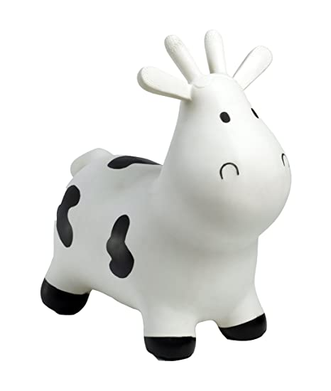 HappyHopperz - HHZ02 - Jouet de Premier Age - Vache - Blanc - 12 à 24 mois