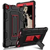 Kindle Fire 8 2017 Case, New Fire HD 8 Case, Zenic Three Layer Heavy Duty Shockproof Full-body Protective Hybrid Case Cover With Kickstand for Kindle Fire 8 2017/All-New Fire HD 8 (Red/Black) (Color: Red/Black)