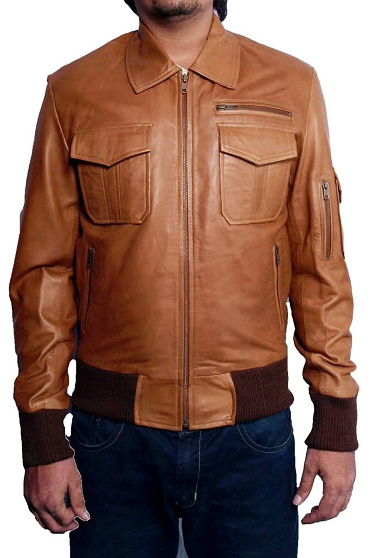Men's Stellam Sheep Tan Brown Leather Jacket