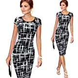BeautyVan Pencil Mini Dress, Fashion Charming Waist Design Thin Women Bandage Short Sleeve Party Sexy Cocktail Pencil Mini Dress,Multiple Colors Available (XL, Black ~1) (Color: Black ~1, Tamaño: X-Large)