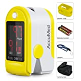 AccuMed CMS-50DL Pulse Oximeter Finger Pulse Blood Oxygen SpO2 Monitor w/Carrying case, Landyard Silicon Case & Battery (Yellow) (Color: Yellow)