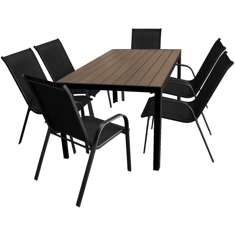 7tlg. Gartengarnitur Gartenmöbel Terrassenmöbel Set Sitzgruppe Gartentisch 150x90cm mit Polywood Tischplatte + 6 stapelbare Gartenstühle mit Textilenbespannung jetzt kaufen