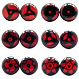 LilMents 6 Pairs Sharingan Eye Uchiha Unisex Mens Womens Stainless Steel Stud Earrings