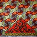African Print Fabric Cotton Print Odyssey 44'' wide By The Yard Orange Green Red