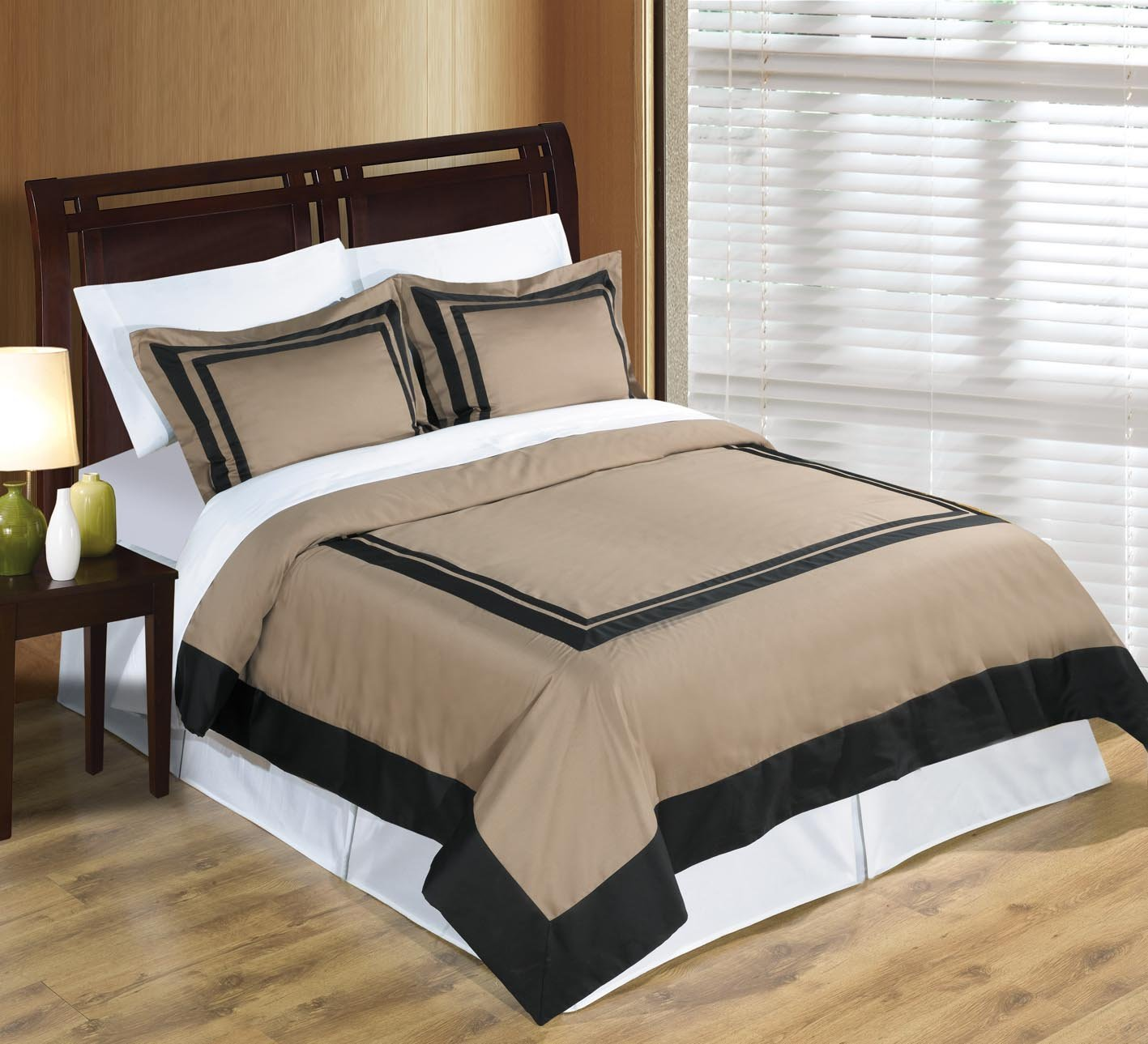 sheetsnthings 4PC Full/Queen size Taupe with Black Hotel bedding set including 3pc duvet cover set+ 1 pc Down Alternative Comforter at Sears.com
