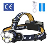 Rechargeable headlamp,Elmchee 12000 Lumen 6 LED 8 Modes 18650 USB Rechargeable Waterproof Flashlight Head Lights for Camping, Hiking, Outdoors (Color: Brown)