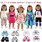 fea45782428 Barwa 5 Sets Clothes Dress Outfits with Accessories and 2 Pairs Shoes for  18 Inch American