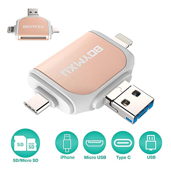 geekgo SD Card Reader for Apple iPhone iPad Android Phone MacBook Computer,Memory Card Adapter with USB C Micro USB,Trail Camera Viewer Type C Black