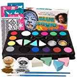 Blue Squid Face Paint Kit for Kids, 52 Pieces, 14 Colors, 2 Glitters, 24 Stencils, Tattoo Sheet, 4 Sponges, Face Painting Party Supplies - Safe for Sensitive Skin - Professional Costume Makeup (Color: White)