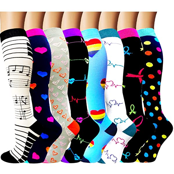 2-8 Pairs Compression Socks Women & Men 15-20 mmHg -Best Travel & Flight Socks-Running & Fitness (Color: B4-style 1 - 8 Pack, Tamaño: Large / X-Large)