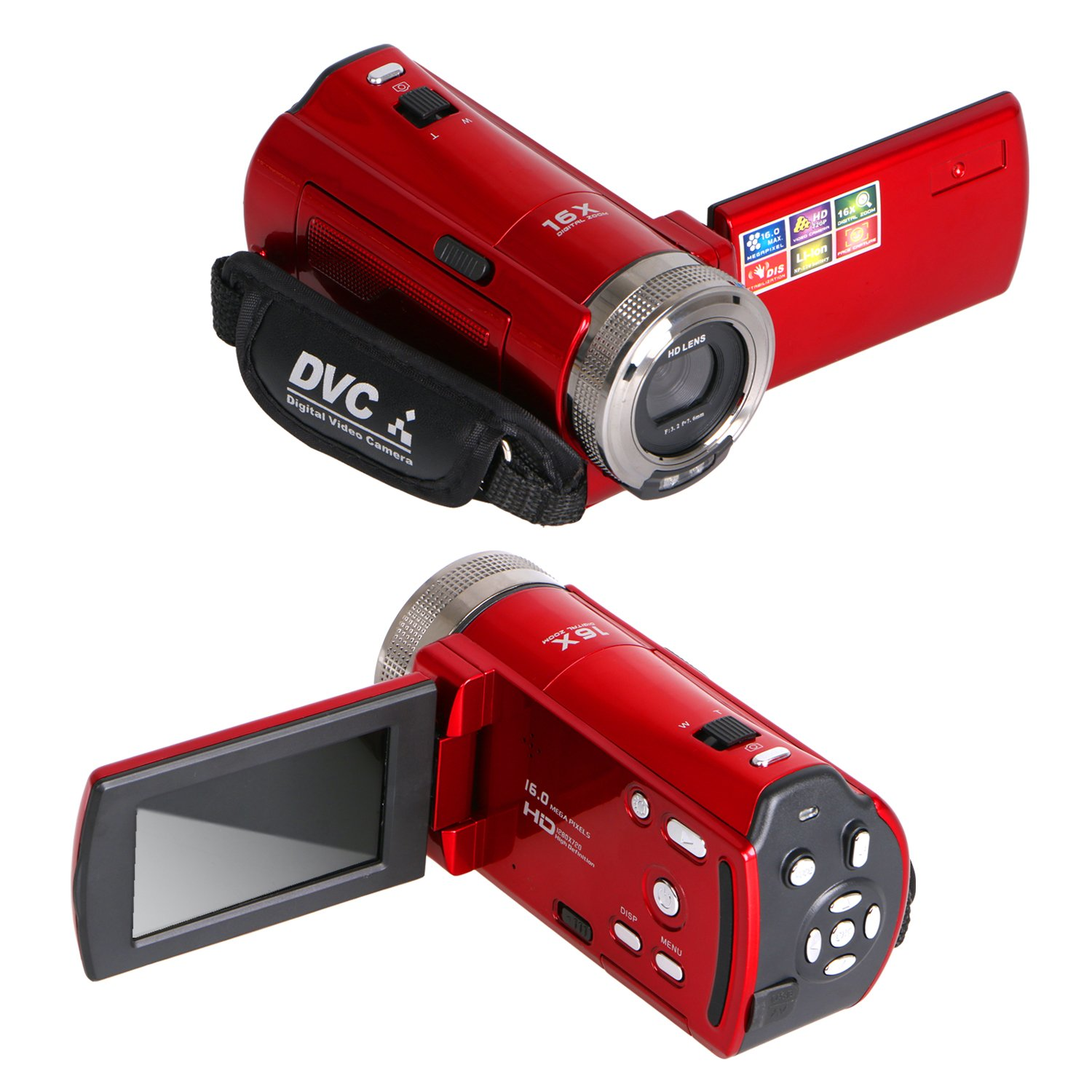 Besteker HD 720p 2.7 TFT LCD Rotation Digital Video Camcorder 16X Zoom Camera DV Video Recorder Max 16.0 Mega Pixels with Safety Tether(Non-Professional),Red