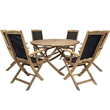 Charles Bentley Acacia Hardwood Tavola rotonda H74 x Diametro 140 centimetri 6 pieghevoli Textilene Highback poltrone per esterni da giardino Patio Dining Furniture Set