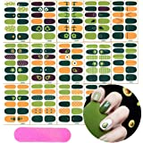 16 Sheets Full Wraps Nail Polish Stickers,Nail Supplies,Self-Adhesive Nail Art Decals Strips Manicure Kits With 5 Pcs Nail Buffers Files for Women Girls-Avocado Green Theme (Color: 1)
