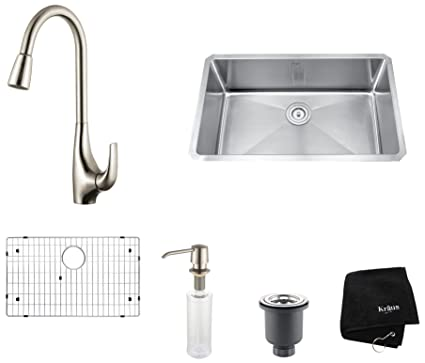 "Kraus KHU100-30-KPF1621-KSD30SS 30"" Undermount Single Bowl Stainless Steel Kitchen Sink with Stainless Steel Finish Kitchen Faucet and Soap Dispenser"