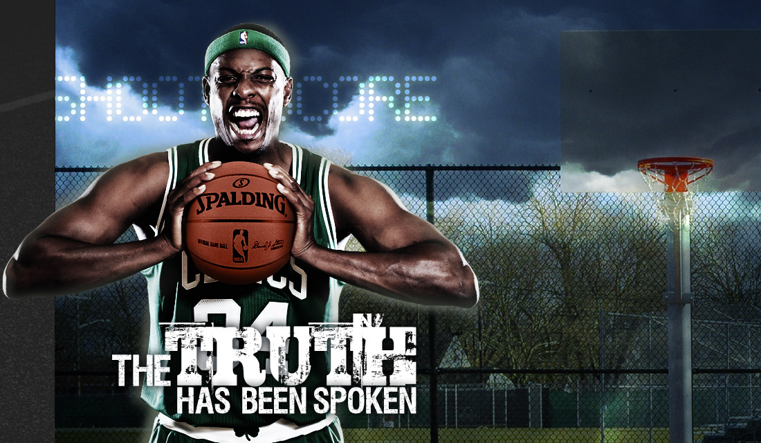 "Professional Basketball Player ""the Truth"" Paul Pierce, forward for the Boston Celtics of the National Basketball Association (NBA) standing on Basketball Court holding his Spalding NBA NeverFlat Composite Basketball"